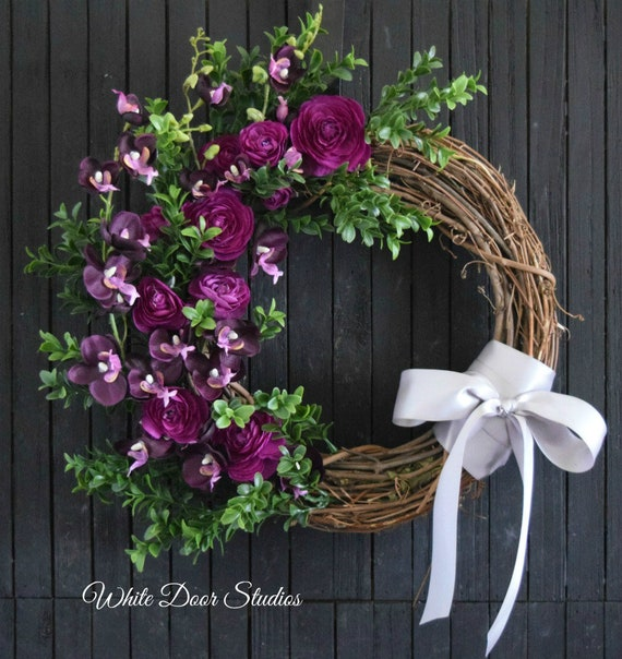 Purple Orchid and Ranunculus Front Door Wreath