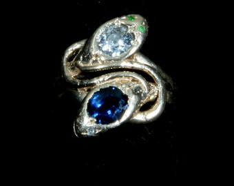 Very Rare Egyptian Revival 1920 14kt Gold Diamond and Sapphire Snake Ring