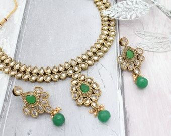 Antique Gold Green Indian Bollywood Necklace Set with Earrings Bridal Wedding