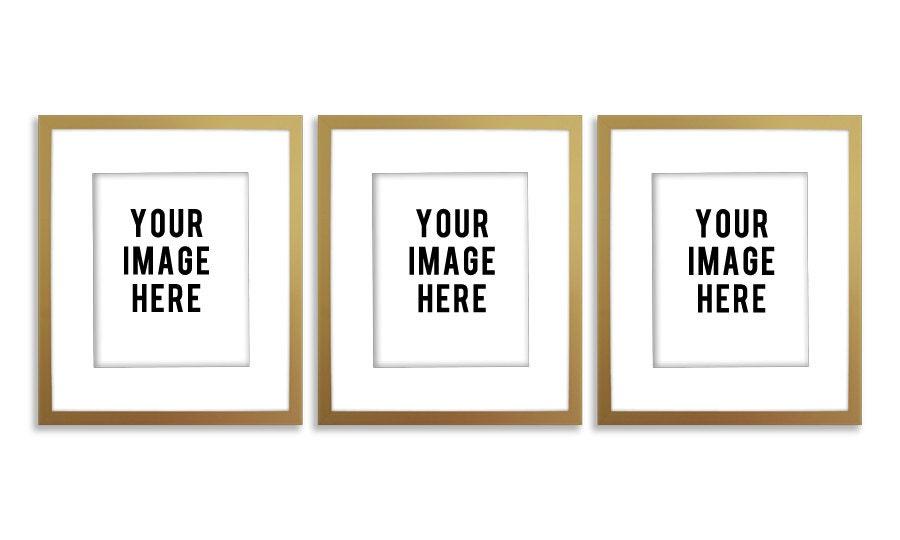 Frame Mockup Digital Empty Gold Frame with Three digital