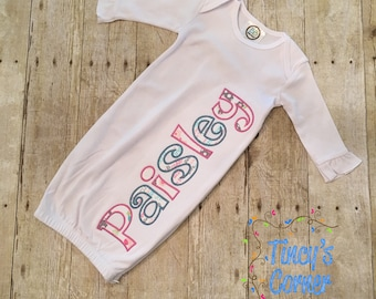 First Name Appliqued Ruffle Infant Gown