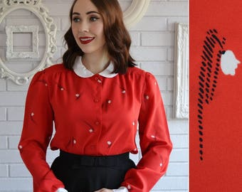 Vintage Red Polyester Blouse with Flowers and Peter Pan Collar by Alex Colman Size Small or Medium
