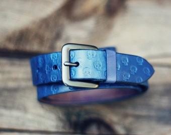 Custom Leather Belt, Handmade personalized gift, Blue stain, Skull pattern, full grain leather belt, Tooled Leather Belt, Men's Leather Belt