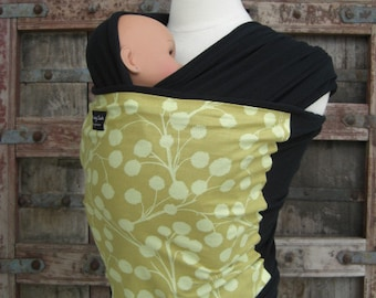 ORGANIC COTTON Baby Wrap-Yellow Branches On Black-DvD Included-Newborn to Toddler-All Wraps Are Reversible-Just give it a Flip