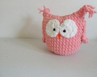 Small pink plush owl / pillow