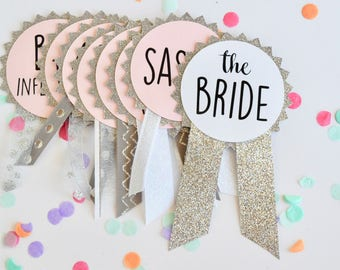 Silver Glitter Bachelorette Party Pins, Bachelorette Party Decorations