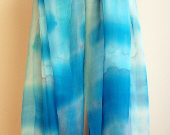 Hand painted silk chiffon scarf.Silk scarves. Silk blue-green-white. Handpainted silk shawl.Wedding gift. 72x37Inches (200x94cm)