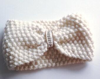 Pure wool headband - alpaca and merino - women headband - ski headband - wonderful white