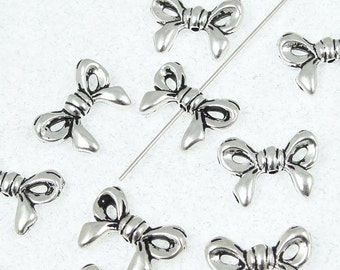 Silver Bow Beads - 14mm x 10mm Antique Silver Beads - TierraCast Pewter Beads - Ribbon Beads Gift Bow Silver Metal Beads (P7)