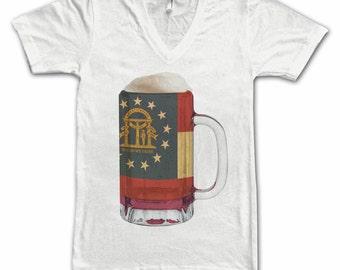 Ladies Georgia State Flag Beer Mug Tee, Home State Tee, State Pride, State Flag, Beer Tee, Beer T-Shirt, Beer Thinkers, Beer Lovers Tee