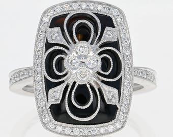 Diamond & Onyx Flower Ring - 14k White Gold Milgrain Round Cut .44ctw U0882