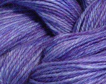 Hand Dyed Alpaca Yarn in Periwinkle - Finger Wt - 250 yds