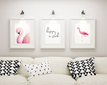 "Printable wall art-set of 3 ""flamingos-happy in pink"", living room, bedroom, digital download, mural/poster for printing"