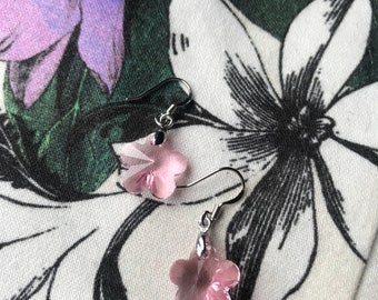 Handmade Pale Pink Swarovski Crystal Flower Earrings
