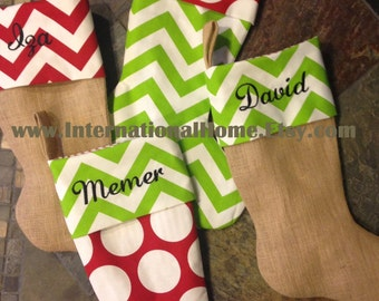 SET OF 7 -Burlap Christmas Stockings - Trendy - Chevron Dot - Personalized