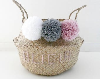Basket Thai 35cm with tassels and custom name