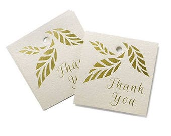 Gold Leaves  Rustic Thank You Wedding Favor Tags (Pack of 25)