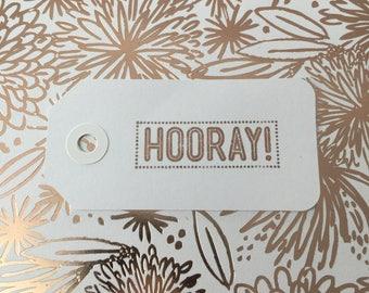 "Rose gold ""hooray!"" birthday gift tag"