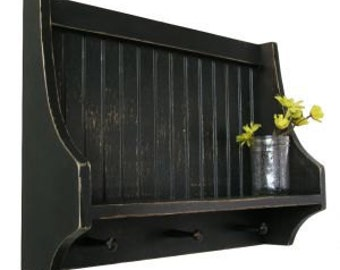 Antiqued Distressed Shabby Chic Highback Shelf