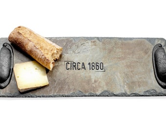 Bread Tray / Serving Tray Reclaimed Slate Trivet / Hot plate / with Carved Date / Country Living