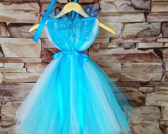 Blue Fairy Costume, Blue Fairy Tutu Dress with Wings,Blue Tutu, Fairy Princess Tutu, Fairy Toddler Costume, Blue Fairy, Pinocchio, Spring