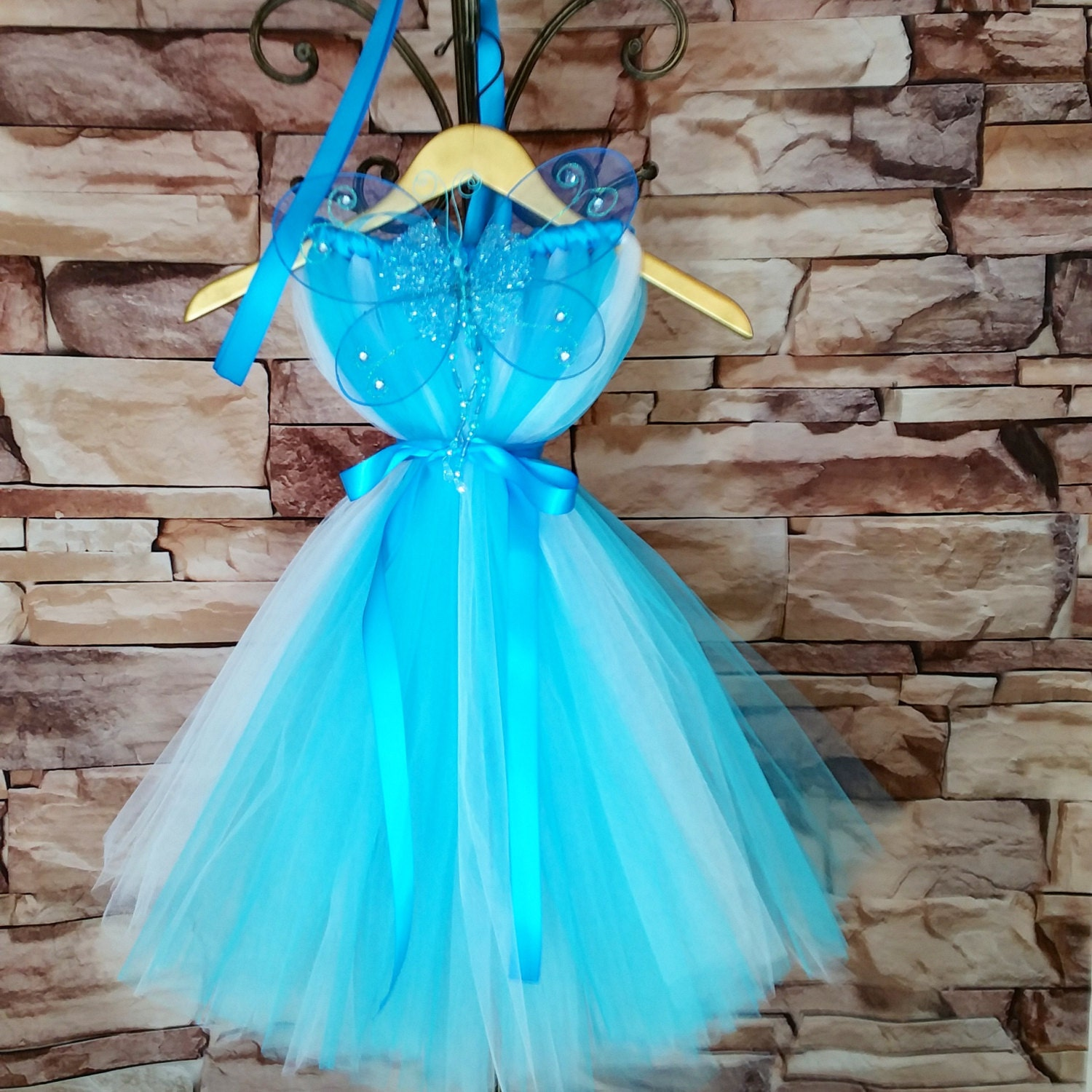 ?zoom & Blue Fairy Costume Blue Fairy Tutu Dress with WingsBlue