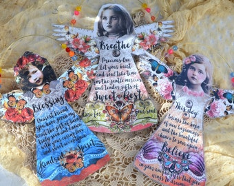 ANGEL DANGLES inspirational friendship breathe word phrase beaded wire fairy assemblage healing recovery