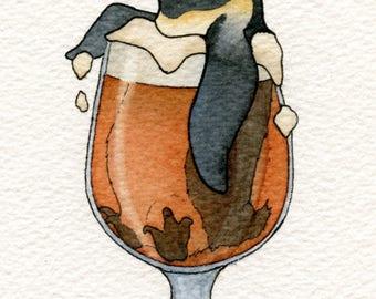 Peaceful Penguin Sour, Drinking Buddy, Art Print