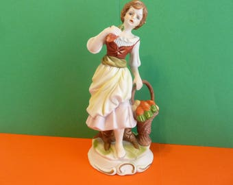 Porcelain Figurine,Woman w / Basket of Carrots & Potatoes