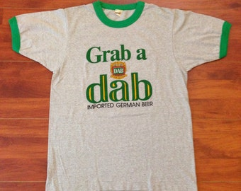 Grab a Dab - 80's Ringer Tee - Screen Stars - 50/50 - Large - Made in USA Ja Dab?