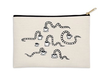 """Some Snakes Love Coffee - pencil case - zip pouch - make up bag -  8.5"""" x 6"""" / 12.5"""" x 8.5"""""""