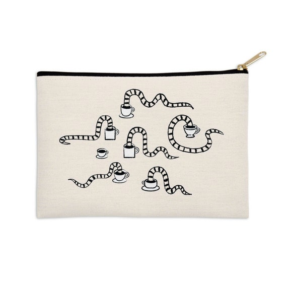 "Some Snakes Love Coffee - pencil case - zip pouch - make up bag -  8.5"" x 6"" / 12.5"" x 8.5"""