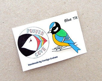 Blue Tit Brooch, Blue Tit Badge, Birds, Pin, Gift for Her, For Mum, Jewellery, Mother's Day