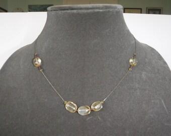 Vintage Citrine Garnet Beaded Necklace
