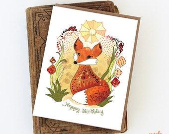 Fox Card - Sun Fox Greeting Card Card, birthday fox, happy birthday fox paper goods