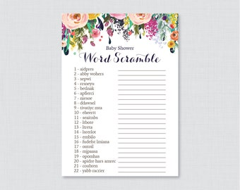 Floral Baby Shower Word Scramble Game with Colorful Flowers - Printable Instant Download Shabby Chic Flower Baby Shower Game - 0025-B