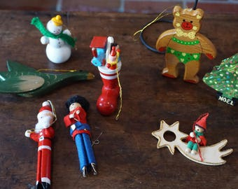 Vintage Wooden Ornament Collection/1980's/ #2018-2/ European Style Ornaments/ Clothespin ornaments/ Handpainted/ Retro Christmas