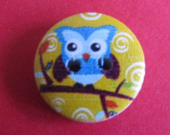 owl button, set of 2, wooden button, 15mm diameter, stitching, scrapbooking