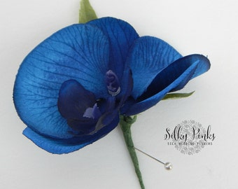 Gents Navy Blue Boutonniere, Grooms Boutonniere, Gents Buttonhole, Blue Orchid Gents Wedding Flower, Groom, Best man Flower,Blue Boutonniere