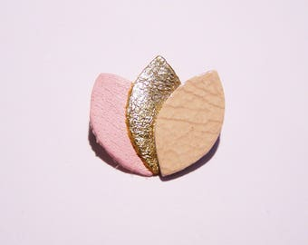 Brooch leather pink and gold
