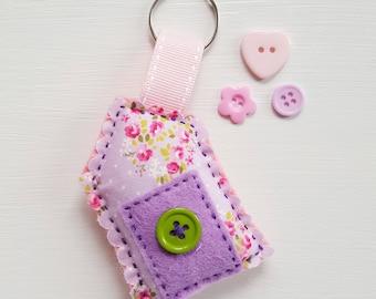 Pretty little house felt and fabric keyring charm. Bag charm. Book bag hanger.