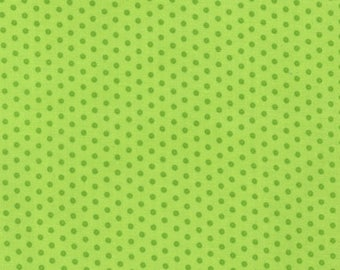 Lime Green Polka Dot Cotton Fabric -  Spot On by Robert Kaufman Fabrics - Perfect for Nursery, Clothing, and Quilts