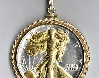 Necklace - 2-Toned Gold on Silver Old U.S. Walking Liberty half dollar Necklace