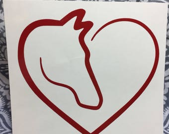 Horse Heart Line Art Silhouette - Vinyl Decal Sticker