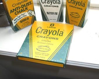 Vintage Crayola Crayons Binney & Smith Lot/White No. 836/ White Bulk No. 33/Anti-Dust Chalk