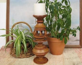 Tall Pillar Candle Holder, Wooden Boho Decor, Unique Accent