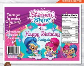 Shimmer & Shine Birthday Custom Snack Bags-Chip Bags-Favor Bags-Digital File or Printed