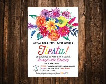 Fiesta Floral Birthday Invitation; Simple; Printable or set of 10