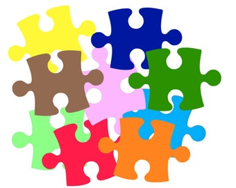 Scrapbooking/ Autism Awareness - 80 Giant Puzzle Pieces - Large - Solid Color Card Stock