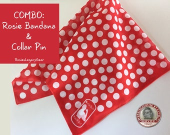 "Rosie the Riveter Bandana and Pin. ""We Can Do It"" Red and White Polkadot Bandanna  AND Rosie Pin. Rockabilly. WW2 Style. Retro Accessory"